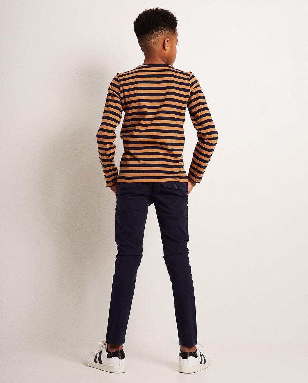 T-Shirts - Braun - Gestreiftes Longsleeve